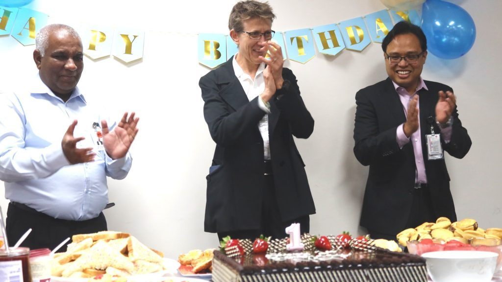 Chief Executive, Siva Sivarajah along with Shiraz Lubke, Operations Manager and Prahlad Ho, Program Director – Diagnostic Services and Director of Clinical Haematology at the Northern Pathology birthday party.